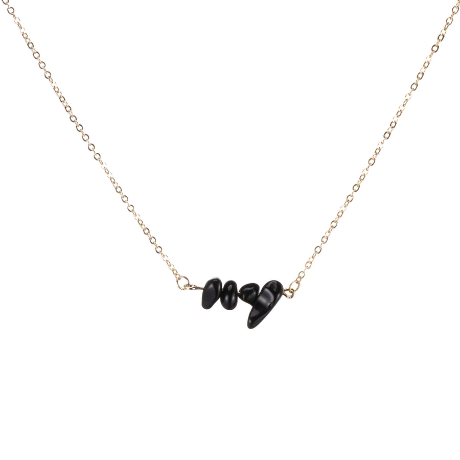 Black Onyx Sphatika Crystal Bar Necklace