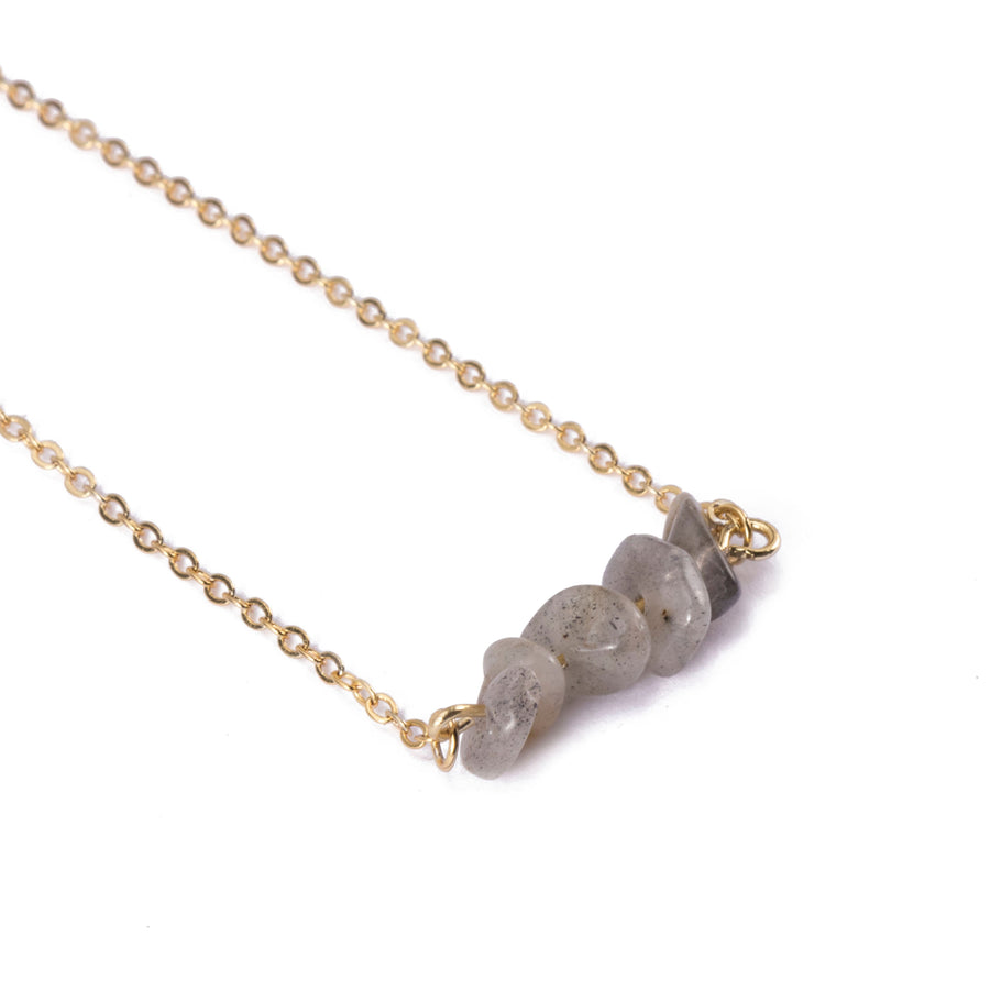 Labradorite Sphatika Crystal Bar Necklace Gold