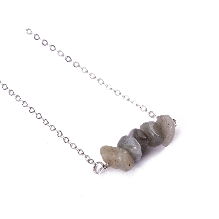 Labradorite Sphatika Crystal Bar Necklace Silver