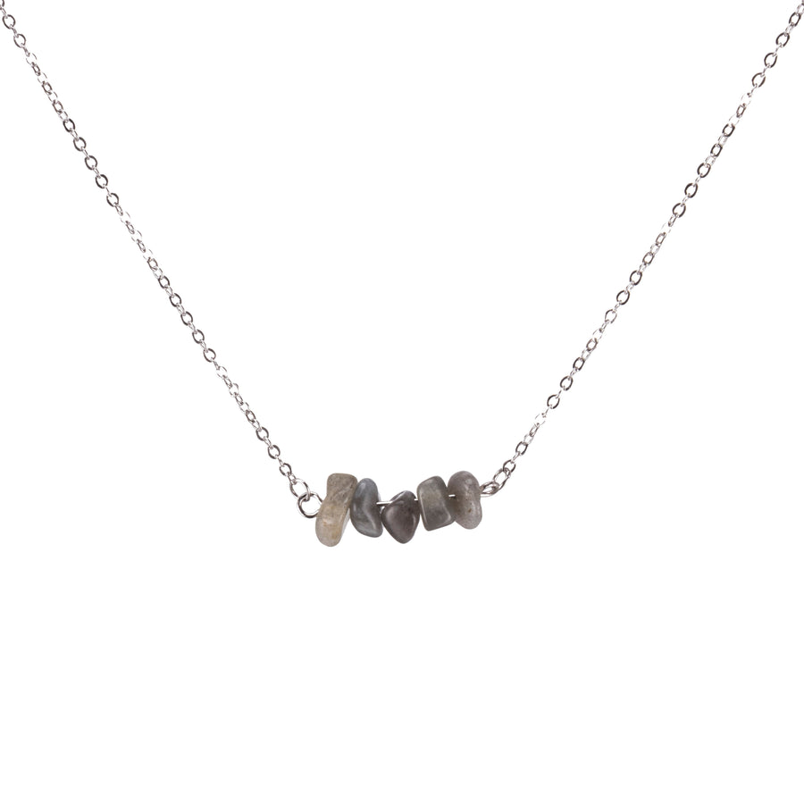 Labradorite Sphatika Crystal Bar Necklace