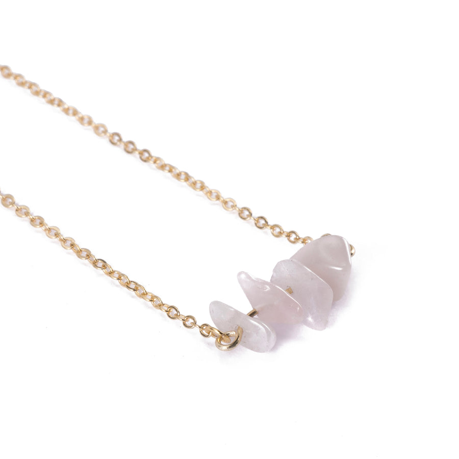 Rose Quartz Sphatika Crystal Bar Necklace Gold