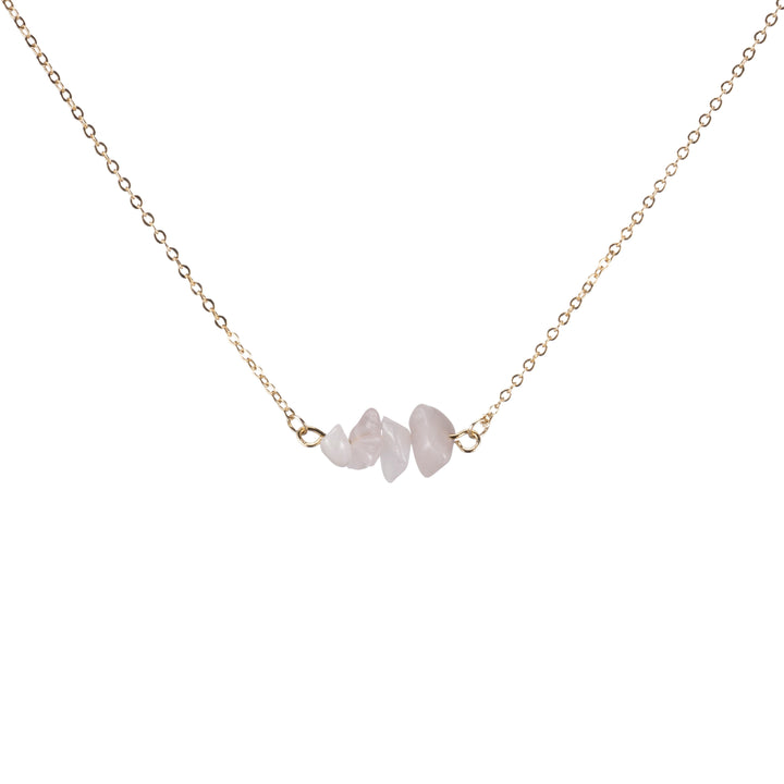 Rose Quartz Sphatika Crystal Bar Necklace