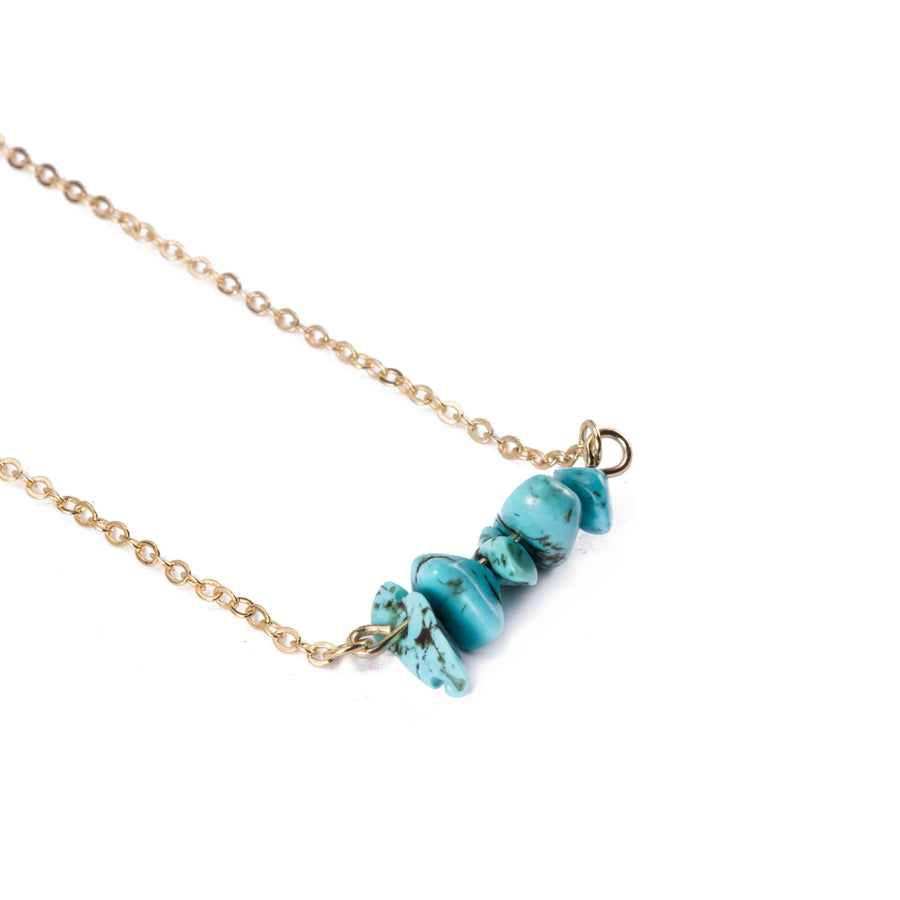 Turquoise Sphatika Crystal Bar Necklace Gold