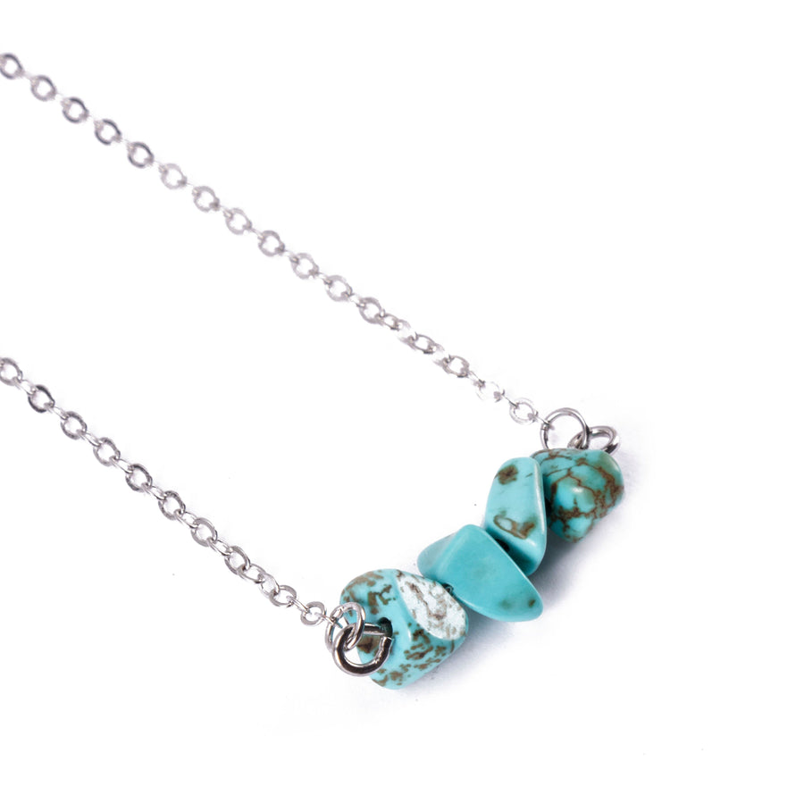 Turquoise Sphatika Crystal Bar Necklace Silver