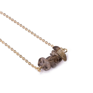 Citrine Sphatika Crystal Bar Necklace Gold