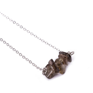 Citrine Sphatika Crystal Bar Necklace Silver