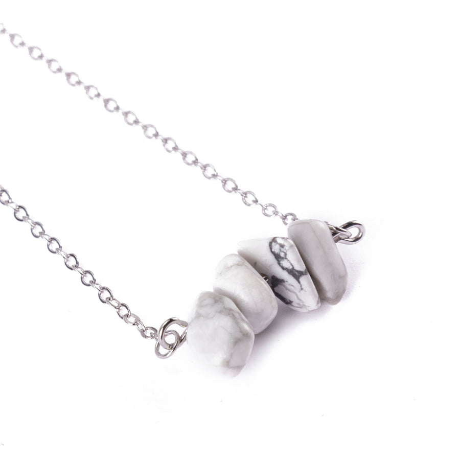 Howlite Sphatika Crystal Bar Necklace Silver
