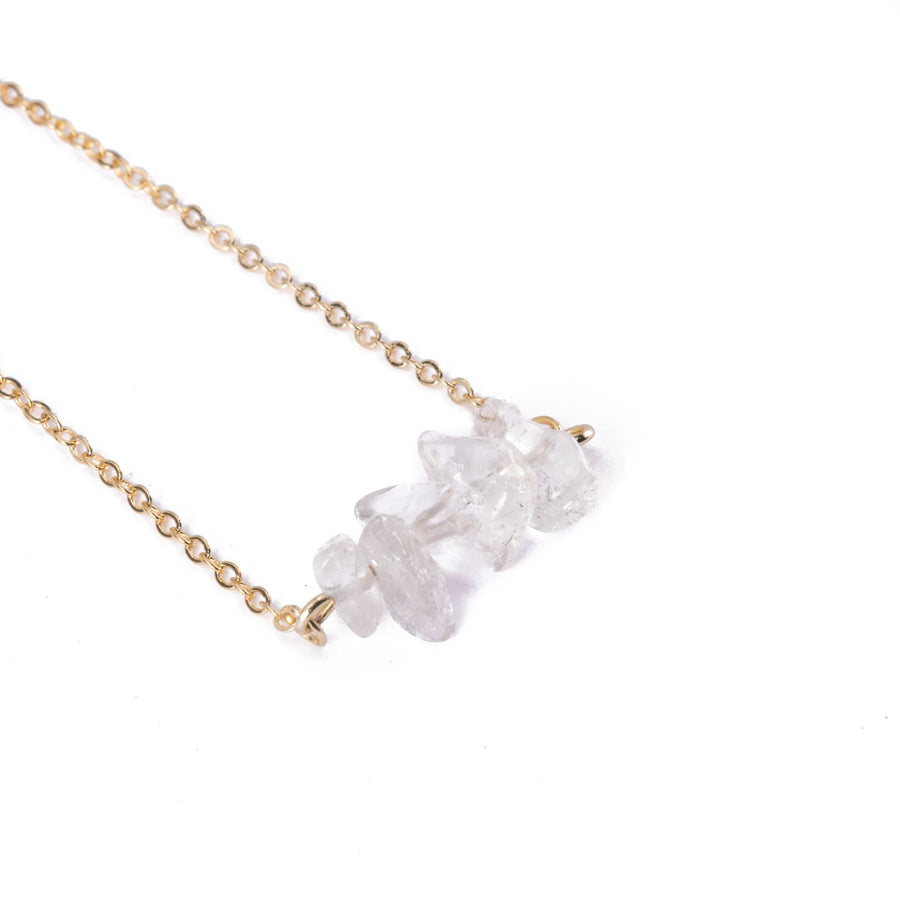 Rock Quartz Sphatika Crystal Bar Necklace