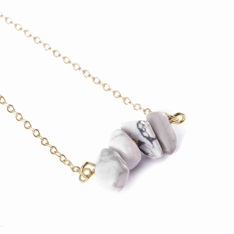 Howlite Sphatika Crystal Bar Necklace Gold