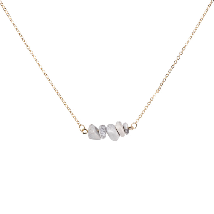 Howlite Sphatika Crystal Bar Necklace