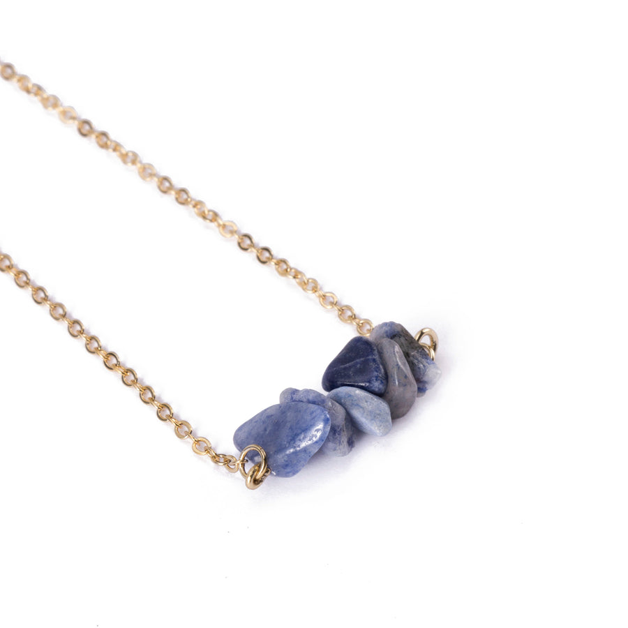 Sodalite Sphatika Crystal Bar Necklace Gold