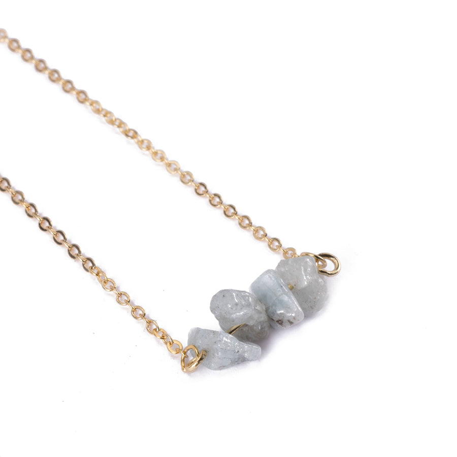 Aquamarine Sphatika Crystal Bar Necklace Gold