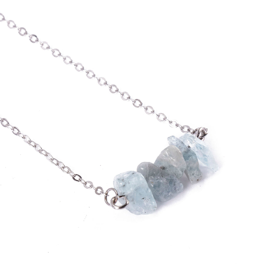 Aquamarine Sphatika Crystal Bar Necklace Silver