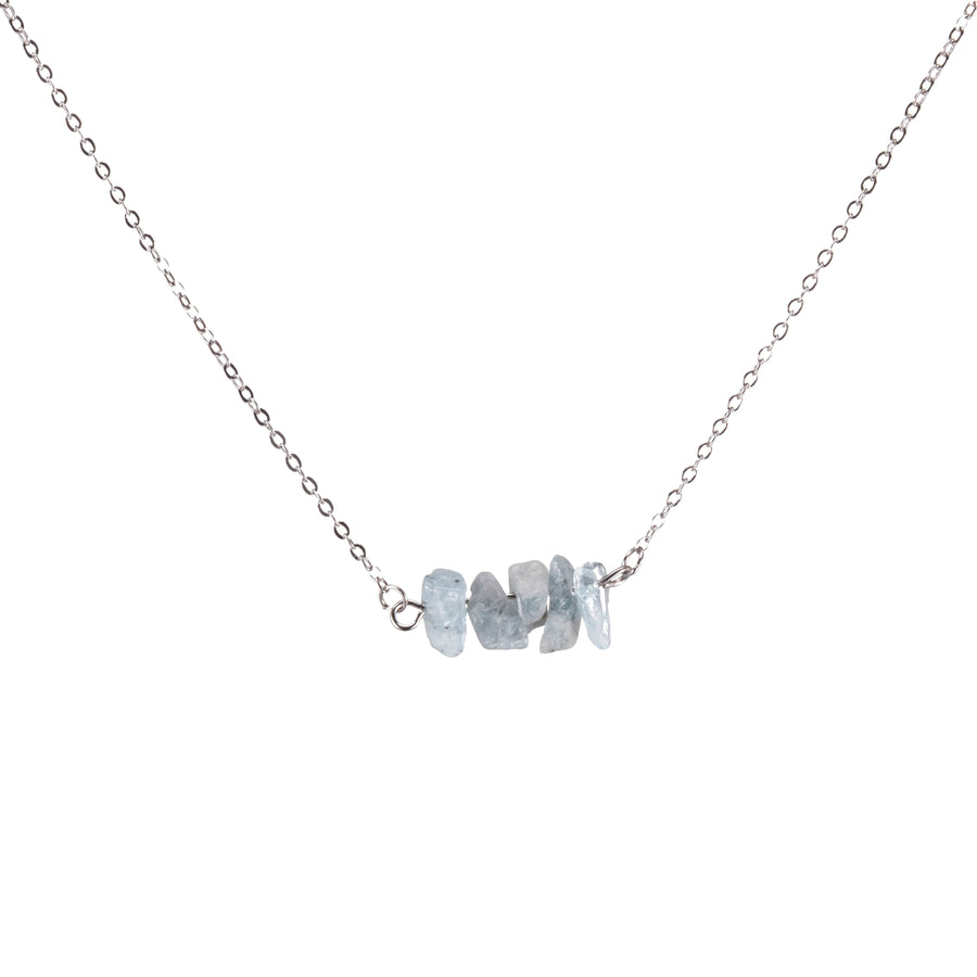 Aquamarine Sphatika Crystal Bar Necklace