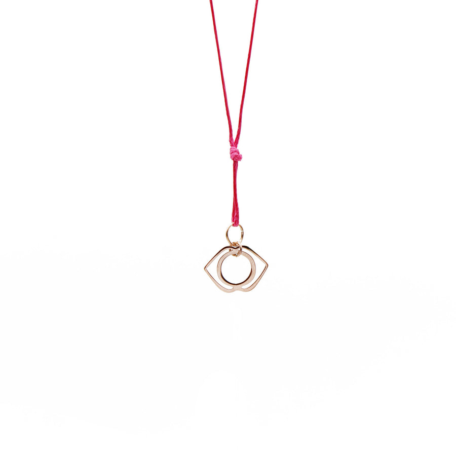Pink Wax Cord Chakra Necklace Third Eye