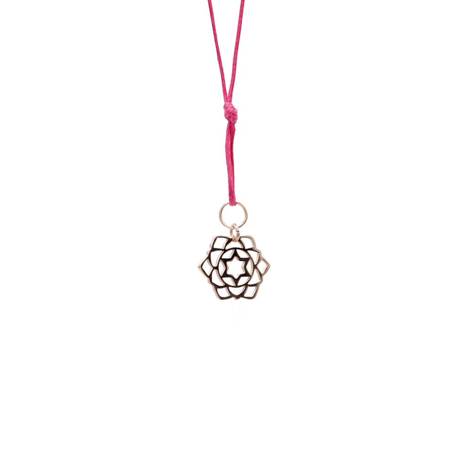 Pink Wax Cord Chakra Necklace Heart