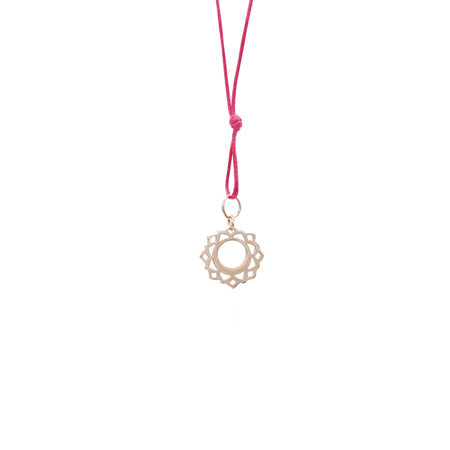 Pink Wax Cord Chakra Necklace Throat