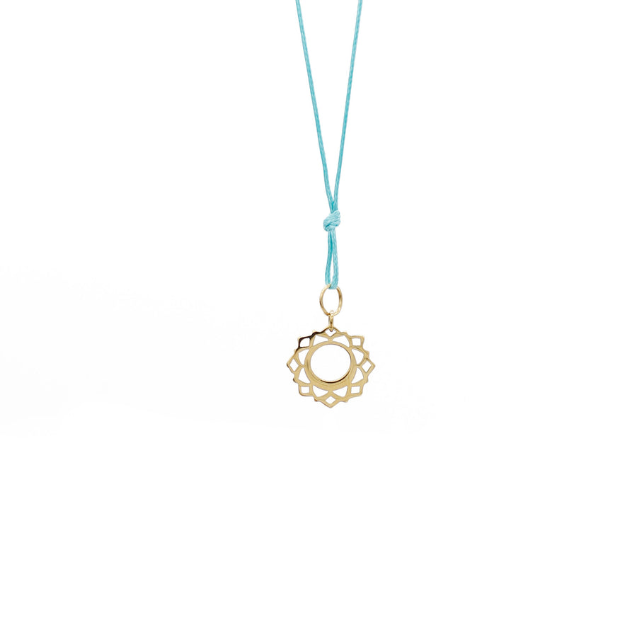 Teal Wax Cord Chakra Necklace Throat