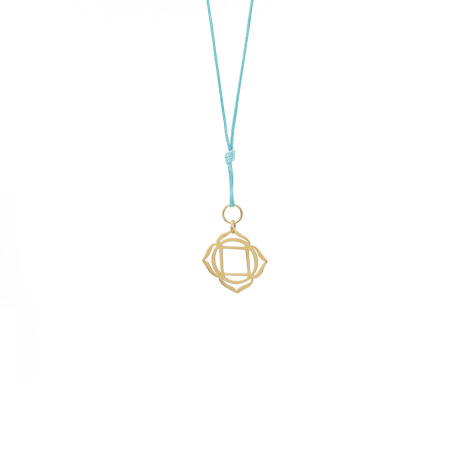 Teal Wax Cord Chakra Necklace Root