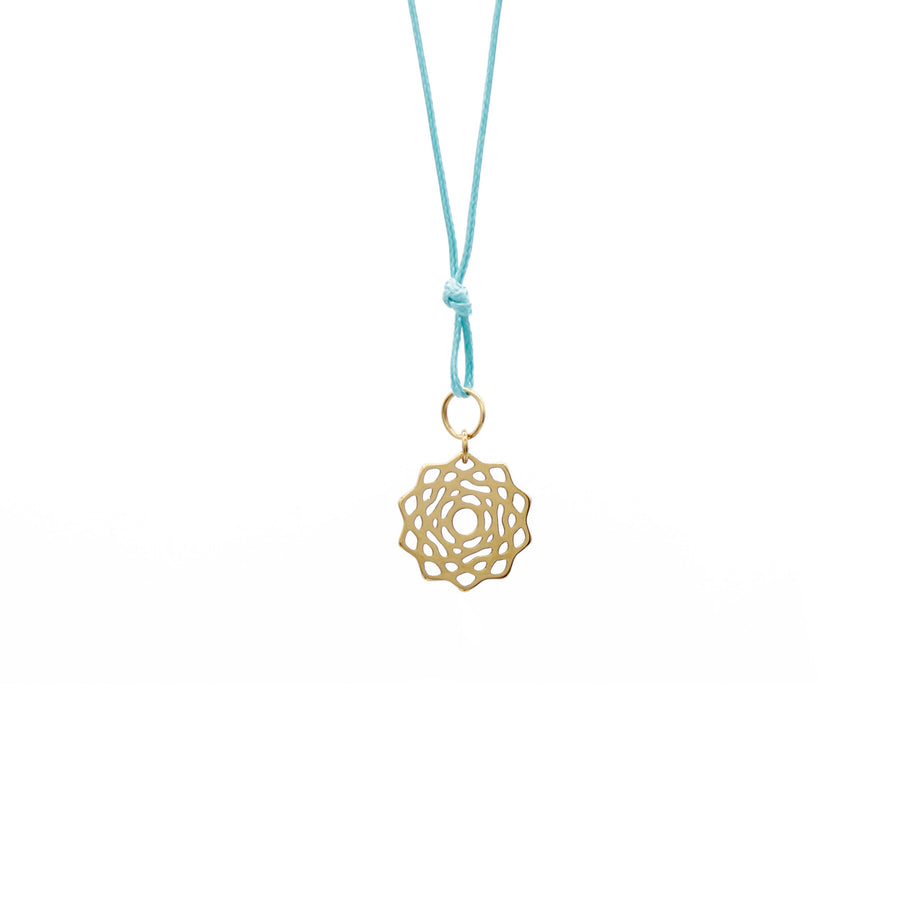 Teal Wax Cord Chakra Necklace Crown