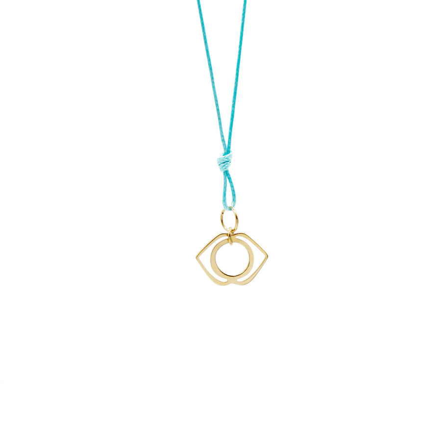 Teal Wax Cord Chakra Necklace Third Eye