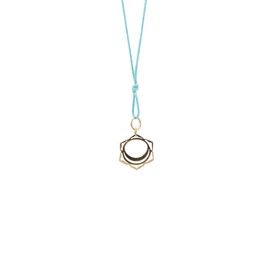 Teal Wax Cord Chakra Necklace Sacral