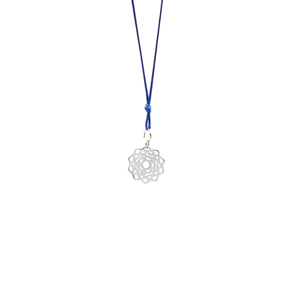 Navy Blue Wax Cord Chakra Necklace Crown
