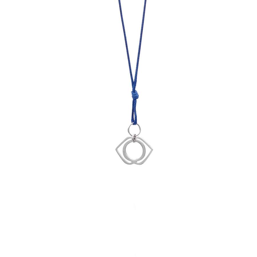 Navy Blue Wax Cord Chakra Necklace Third Eye