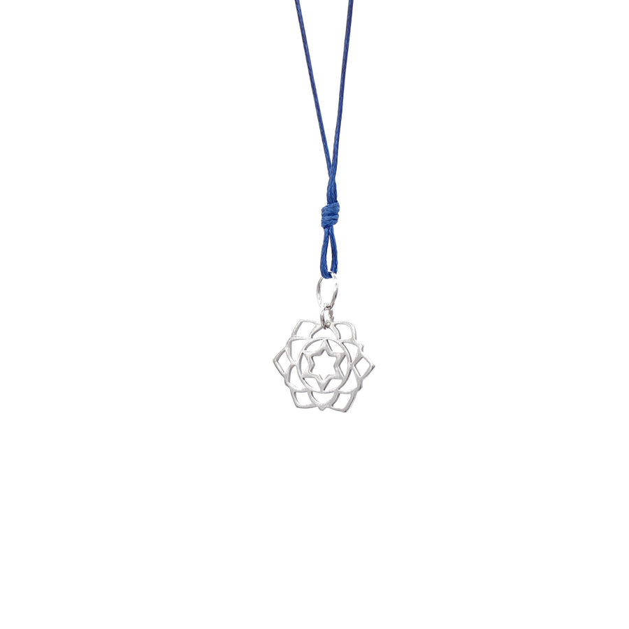 Navy Blue Wax Cord Chakra Necklace Heart