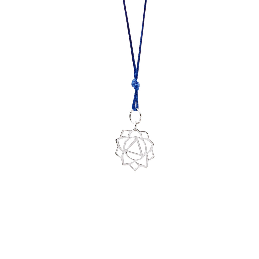 Navy Blue Wax Cord Chakra Necklace Solar Plexus