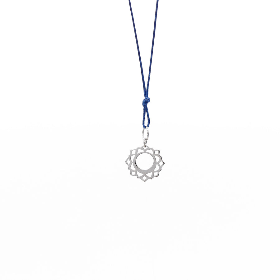 Navy Blue Wax Cord Chakra Necklace Throat
