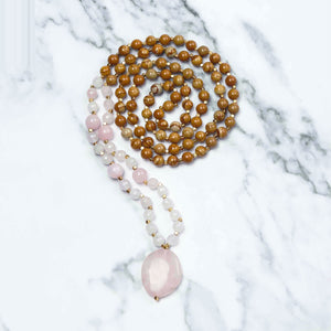 Pink Light Mala Necklace