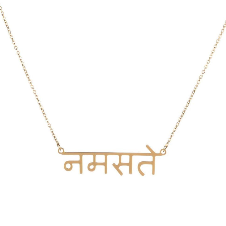 Namaste Sanskrit Necklace 14K Gold Plated