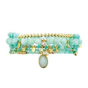 Parker Beaded Bracelet Set in Amazonite - Gold
