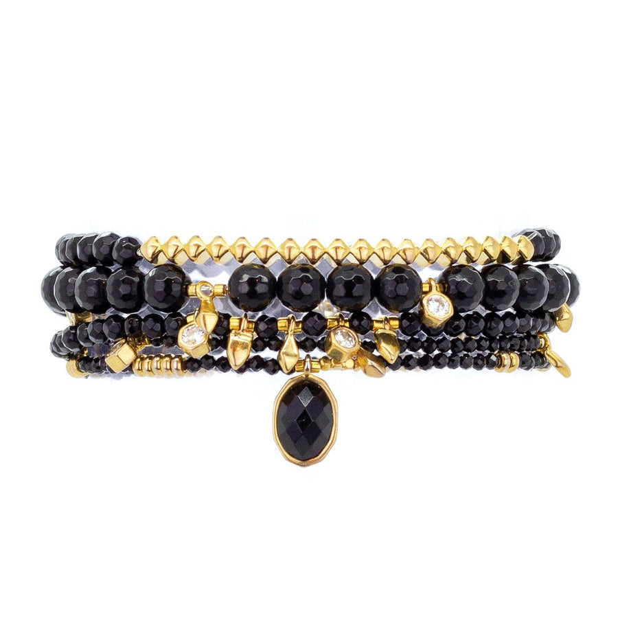 Parker Beaded Bracelet Set in Carbonado - Gold