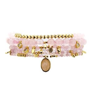 Parker Beaded Bracelet Set in Rose Quartz - Gold