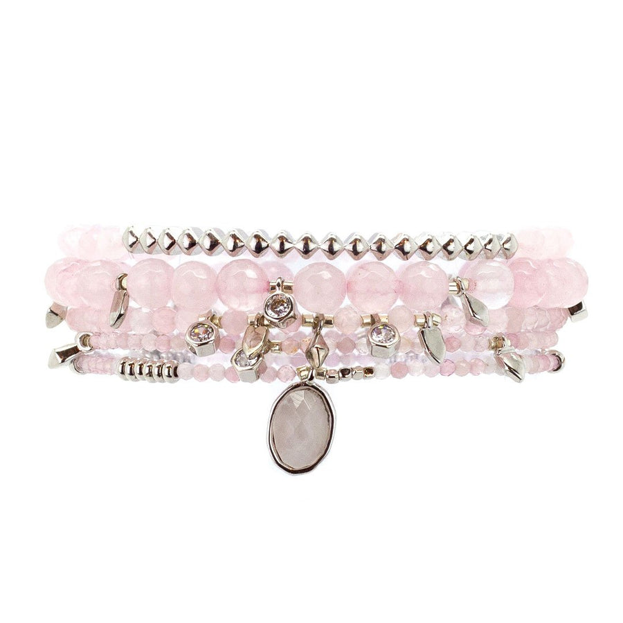 Parker Beaded Bracelet Set in Rose Quartz - Platinum