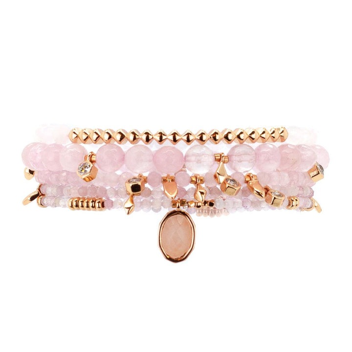Parker Beaded Bracelet Set in Rose Quartz - Rose Gold