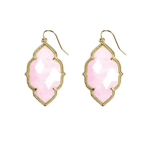 Quinn Drop Earrings in Rose Quartz
