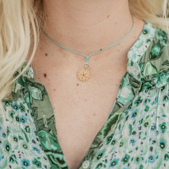 Teal Wax Cord Chakra Necklace