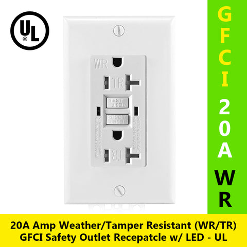 20A Tamper Resistant Weather Resistant (TR/WR) GFCI Outlet w/ Wallplate