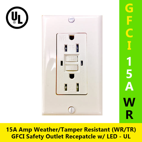 15A Tamper Resistant Weather Resistant (TR/WR) GFCI Outlet w/ Wallplate