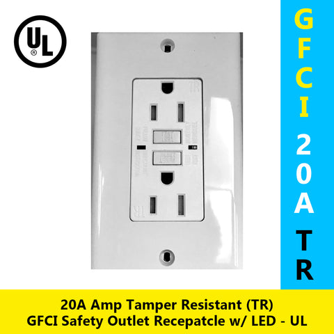 GFCI 20A Tamper Resistant (TR) Ground-Fault Circuit Interrupter Outlet w/ Wallplate