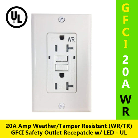 20A Tamper Resistant Weather Resistant (TR/WR) GFCI Ground-Fault Circuit Interrupter Outlet w/ Wallplate