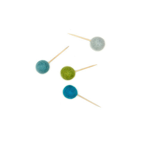 Cupcake Toppers set of 12 Felt - Blue