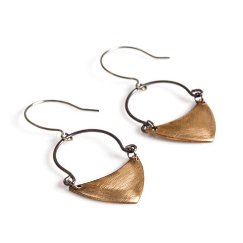 Brass Oxidized Silver Earrings