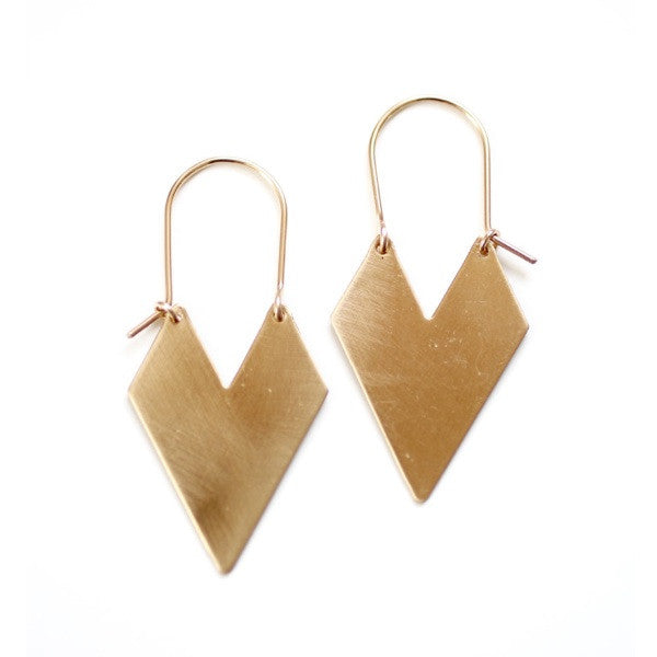 Chevron Arrow Brass Hoops 14K gold filled Wire