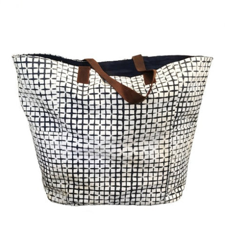 Sumaya Block Print Tote Bag Grid