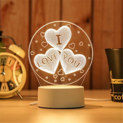 3D lampa - I love you
