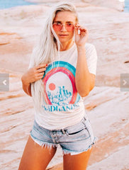 3bca5cd43 Funny Badlands Tee Womens Graphic Tops 2018 vintage Style 70s 80s Rainbow  tshirts Summer Southwest Travel ...